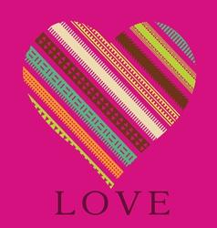 ornamental pink heart valentine card vector image vector image