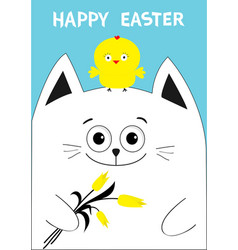 cat holding yellow tulip flower and chicken bird vector image vector image