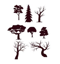 deciduous forest trees silhouette set vector image