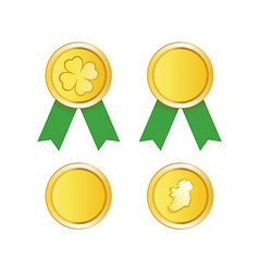 Golden Medal to St Patrick Day vector image vector image