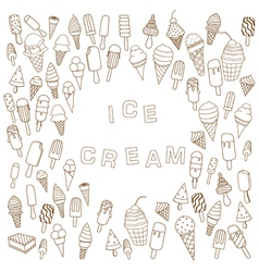 Ice cream in waffle cones background vector
