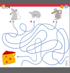 maze game with mouse characters vector image vector image