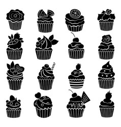 big monochrome set of different cupcakes and vector image