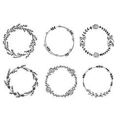 hand drawn wreaths design elements vector image