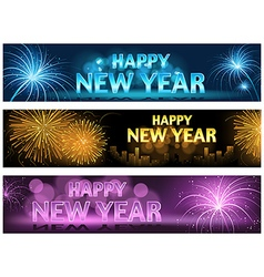 Happy New Year Banner Set vector image