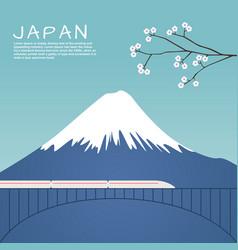 mount fuji in japan with sakura tree vector image vector image