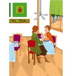 Retro women in bakery vector image vector image