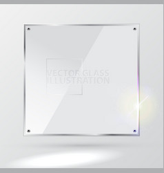 white square glass - light background and vector image