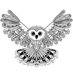 Zentangle stylized Black Owl Hand Drawn isolated vector image vector image