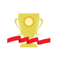 cup and red ribbon reward vector image