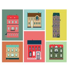 flat design urban landscape set of buildings vector image
