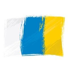 Grunge Canary Islands flag vector image