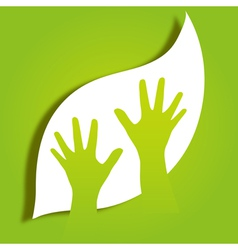 hands caring leaf vector image vector image