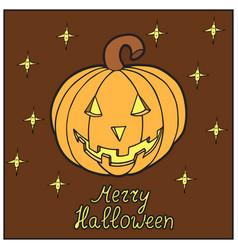 pumpkin with stars merry halloween vector image vector image