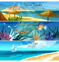 Seascape Banner Set vector image vector image