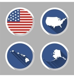 Set of USA country shape with flag icons flat vector image
