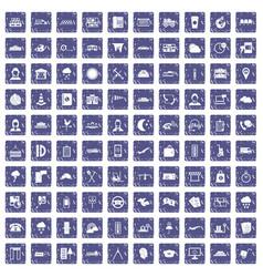 100 dispatcher icons set grunge sapphire vector