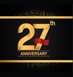 27 years anniversary logotype with premium gold vector