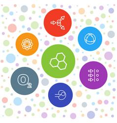 7 molecular icons vector image