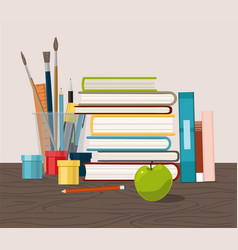 accessories books and fresh apple vector image