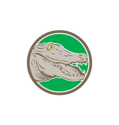 Alligator Head Snout Circle Retro vector