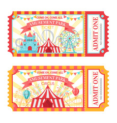 amusement park ticket admit one circus admission vector image