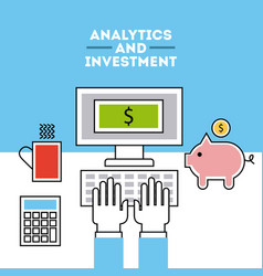 Analytic and investments flat vector