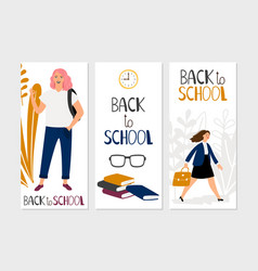 back to school banners template school vector image