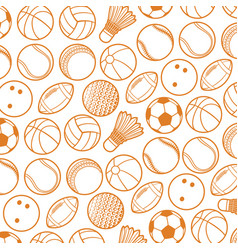 background pattern with sport balls thin line icon vector image