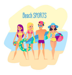 beach sports four young people on the beach vector image