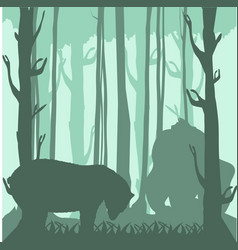 bear and gorilla silhouettes in the forest vector image