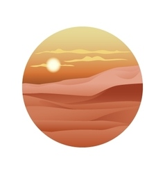 Beautiful sunset over sand dunes sahara vector