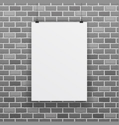 blank white paper sheet raw brick wall background vector image