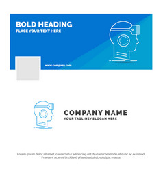 Blue business logo template for vr googles vector