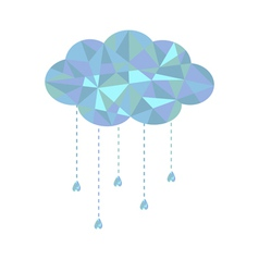 Blue cloud with hanging drops Polygonal effect vector image