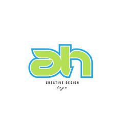 blue green alphabet letter ah a h logo icon design vector image
