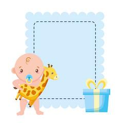 boy with giraffe gift bashower vector image