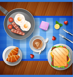 Breakfast with eggs bacon bread and cup of coffe vector