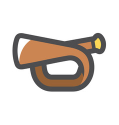 bugle scout trumpet icon cartoon vector image