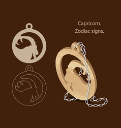 Capricorn zodiac signs can be used as a template vector