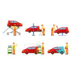 car service elements set male auto mechanics in vector image