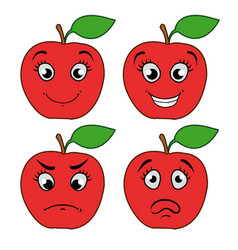 cartoon apple with emotions vector image