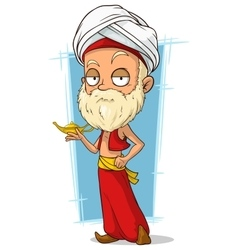 Cartoon oriental old man with turban vector
