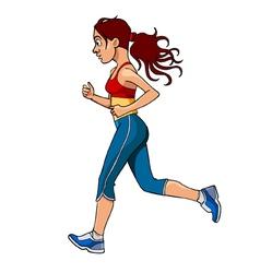 Cartoon woman in sportswear running side view vector