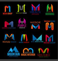 Corporate identity m letter icons creative design vector