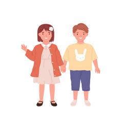 couple little boy and girl portrait happy vector image