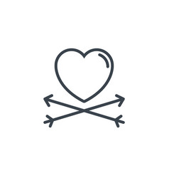 Crossed arrows heart icon line design vector
