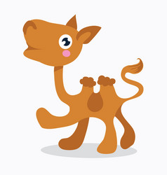 Cute cartoon two-humped baby camel with an vector