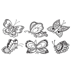 Cute doodle butterfly characters vector