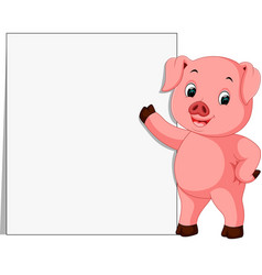 Cute pig with blank sign vector